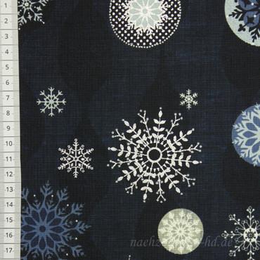 Icy Winter große Schneeflocken silber dunkelblau
