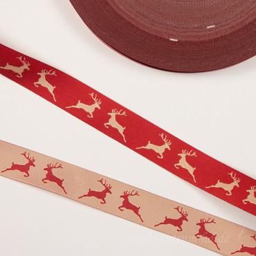 Webband Rentier 2cm beige rot