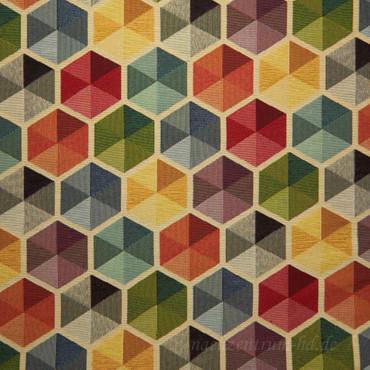 Dekostoff Gobelin Funky Big Hexagon bunt – Bild 2