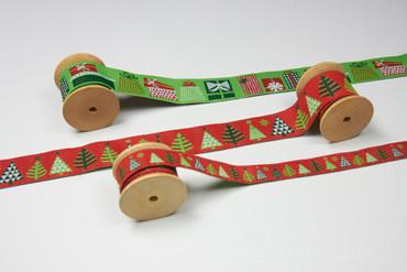 Webband Geschenke, 2,8cm x 2m grün – Bild 2