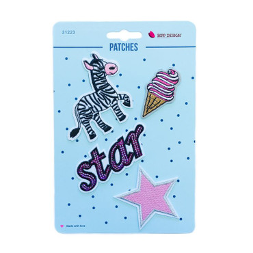 Zebra Star Patches, aufbügelbar