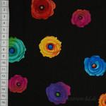 Timeless Treasures Fantasy Regenbogen Blumen schwarz 001