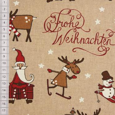 Dekostoff Anton Merry Christmas Nikolaus Rentiere – Bild 1