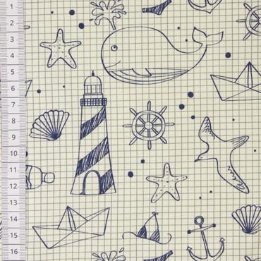 Maritim Zeichnung Jersey blau – Bild 2