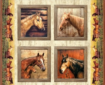 Riley Blake Horses Pillow Panel