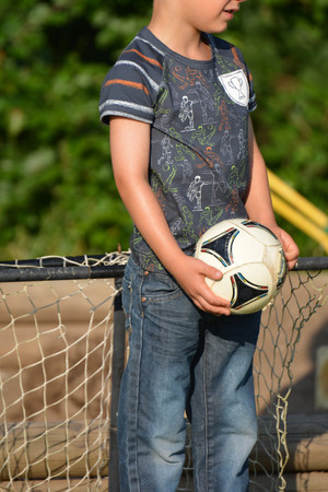 Hilco Baumwolljersey My heart beats Football Stripes orange – Bild 3