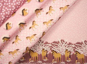 Hilco Baumwolljersey Forever Horses Horses on Flowers by JaTiJu pink – Bild 3