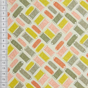 Makower Handmade Cotton Reels lachs-grau – Bild 1
