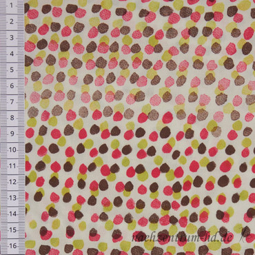 Viskose Punkte braun-pink-kiwi – Bild 2