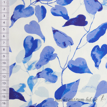 Baumwoll Satin Leaves blau – Bild 2