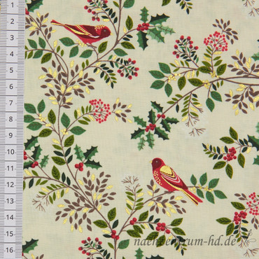 Makower Silent Night Birds in the Brier beige – Bild 2