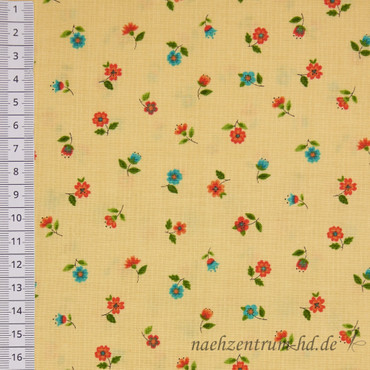 Makower Bloom Floral Scatter rot-blau-beige – Bild 2