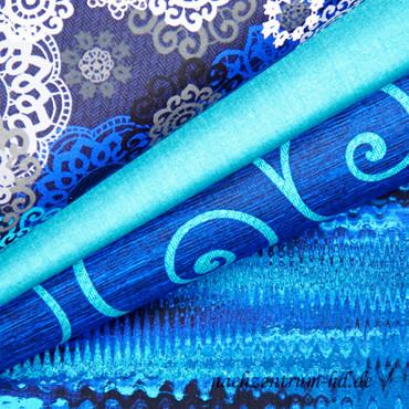 Palermo by Greta Lynn - Ornamentstruktur in türkis, grau, blau auf schwarz – Bild 3