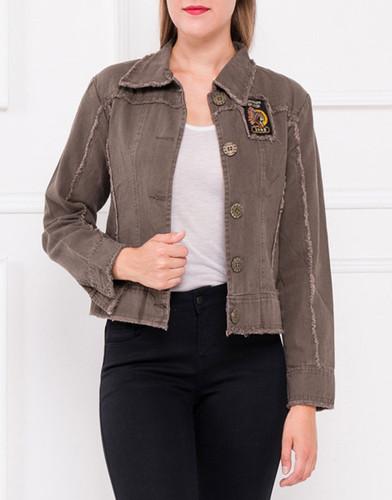 Damen Jacke Übergangs Jacket Kurzjacke Jeansjacke Blazer Militär Blume Stickerei