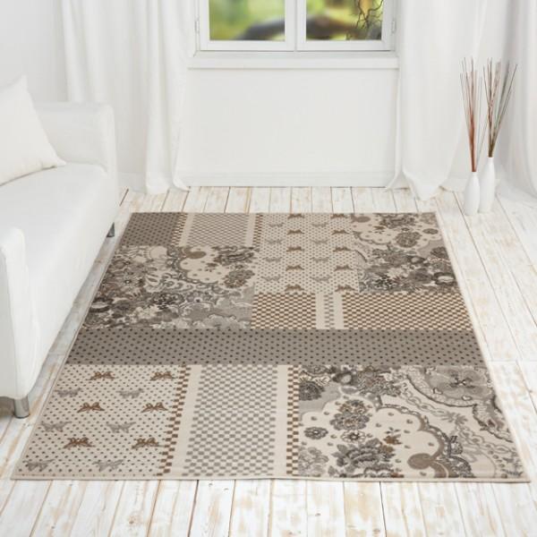 kurzflor design teppich emil mit patchwork muster teppiche. Black Bedroom Furniture Sets. Home Design Ideas