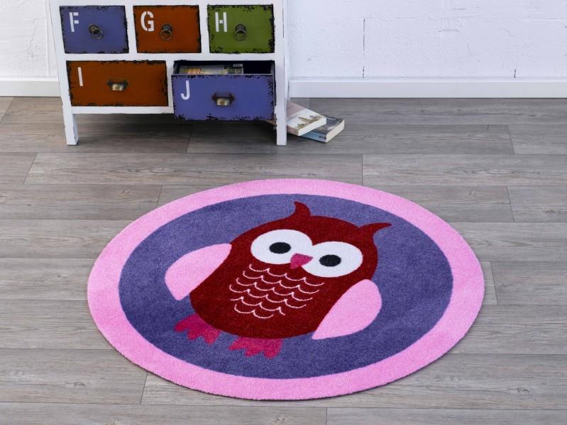 Kinderteppich eule rosa  Velours Kinder Teppich Eule lila rosa rot rund 100 cm | 101943 ...