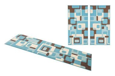 Design Bettumrandung Retro hellblau/braun/creme 3teilig – Bild 3