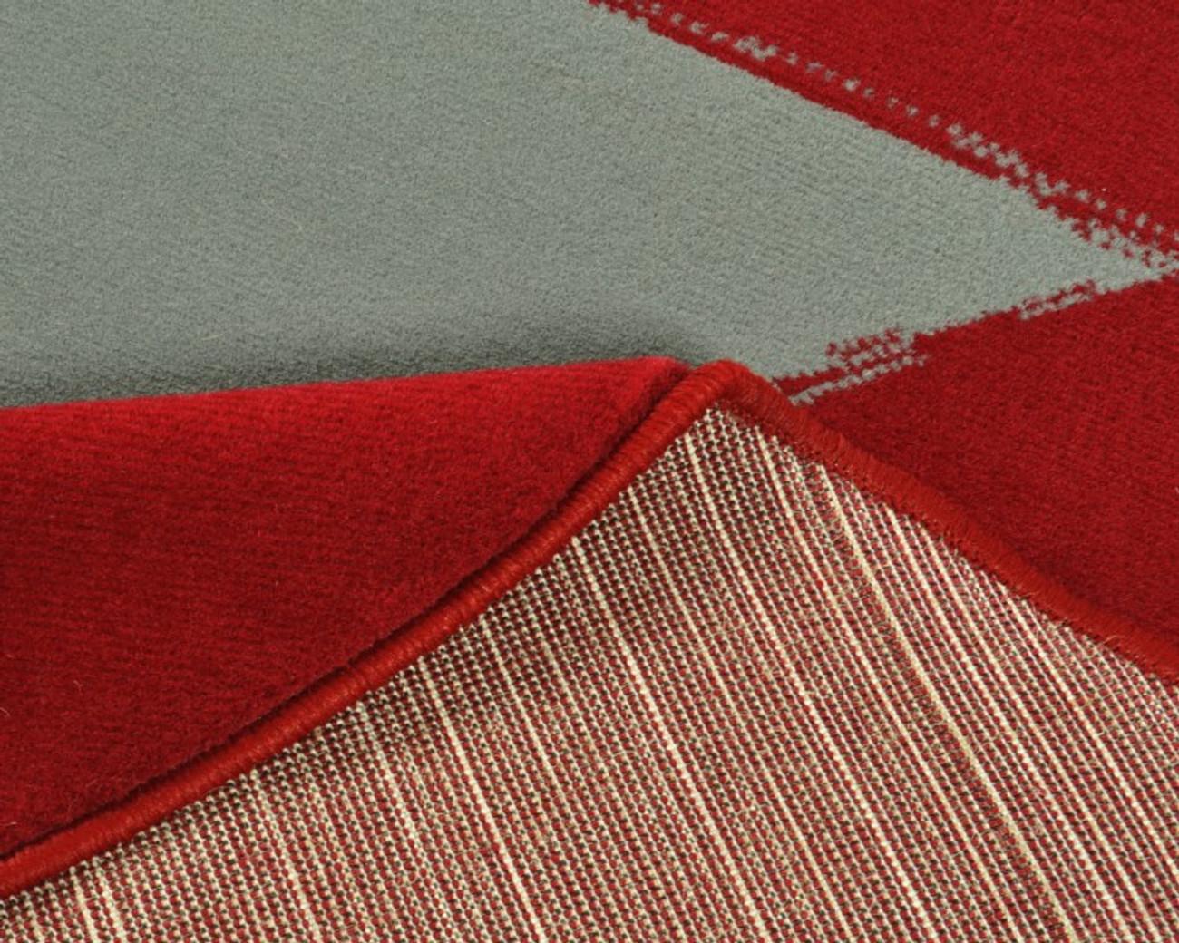 Design Kurzflor Velours Teppich Stern Rund Rot Grau 140 Cm Ebay