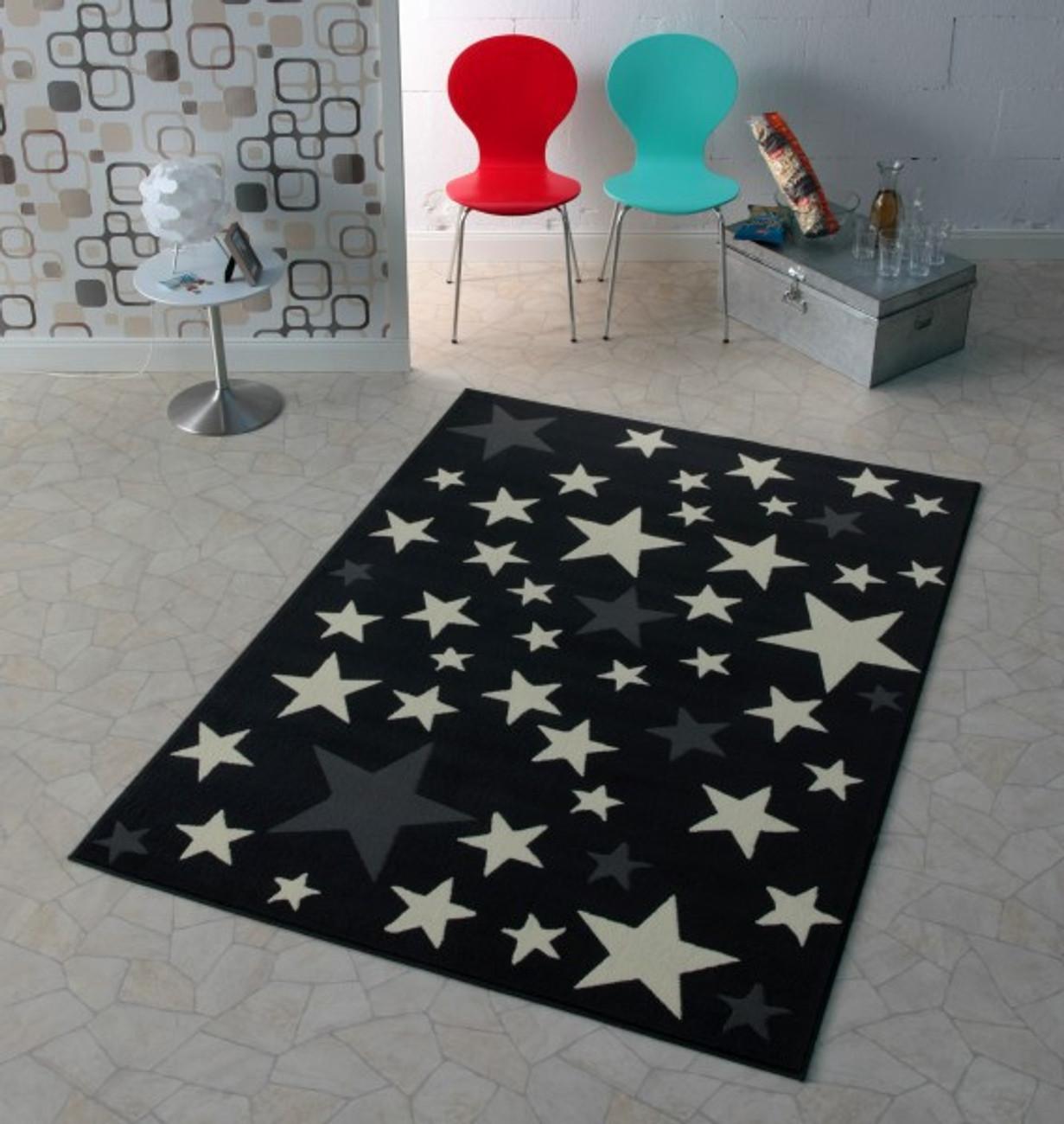 design velours teppich sterne grau 140x200 cm 102167 teppiche design teppiche. Black Bedroom Furniture Sets. Home Design Ideas