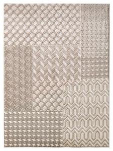 Design Teppich Hoch-Tief-Effekt Patchwork Velours Taupe Creme | 102286 – Bild 2