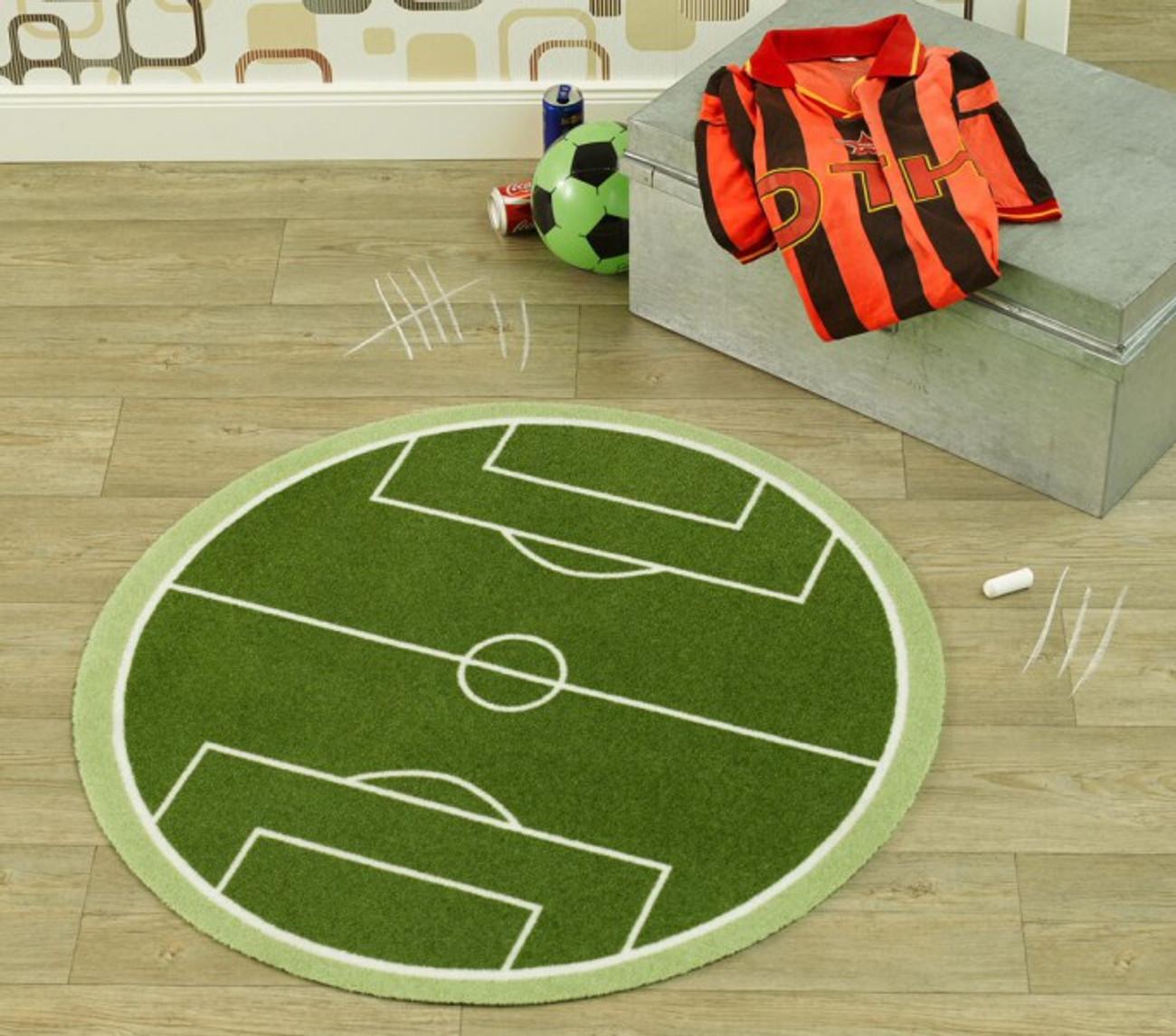 Velours Kinder Teppich Fussballfeld grün rund 100 cm | 102301 ...