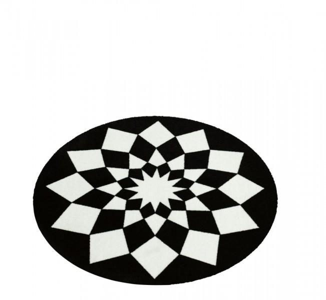 Teppich rund schwarz weiß  Velours Teppich tribal triangles schwarz weiss rund 100 cm ...