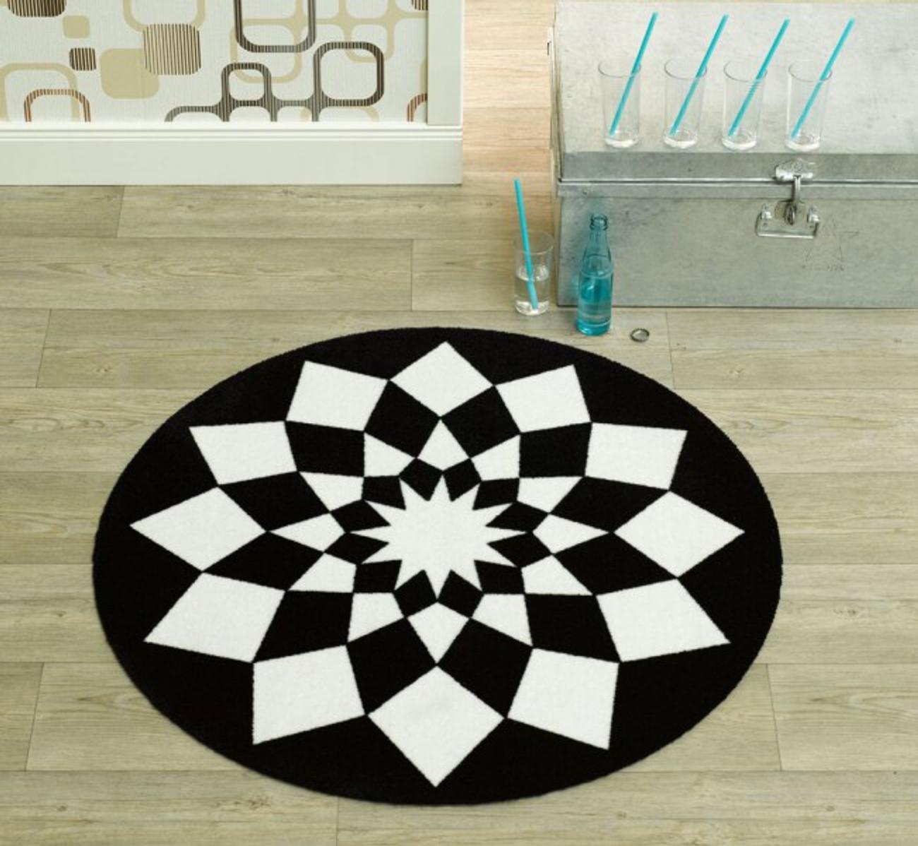 velours teppich tribal triangles schwarz weiss rund 100 cm 102302. Black Bedroom Furniture Sets. Home Design Ideas