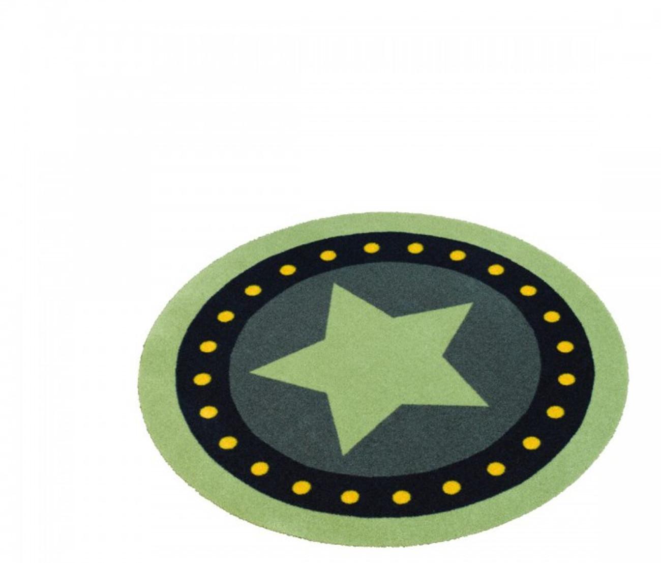 Kinderteppich grün mit stern  Velours Kinder Teppich Stern grün rund 100 cm | 102304 Teppiche
