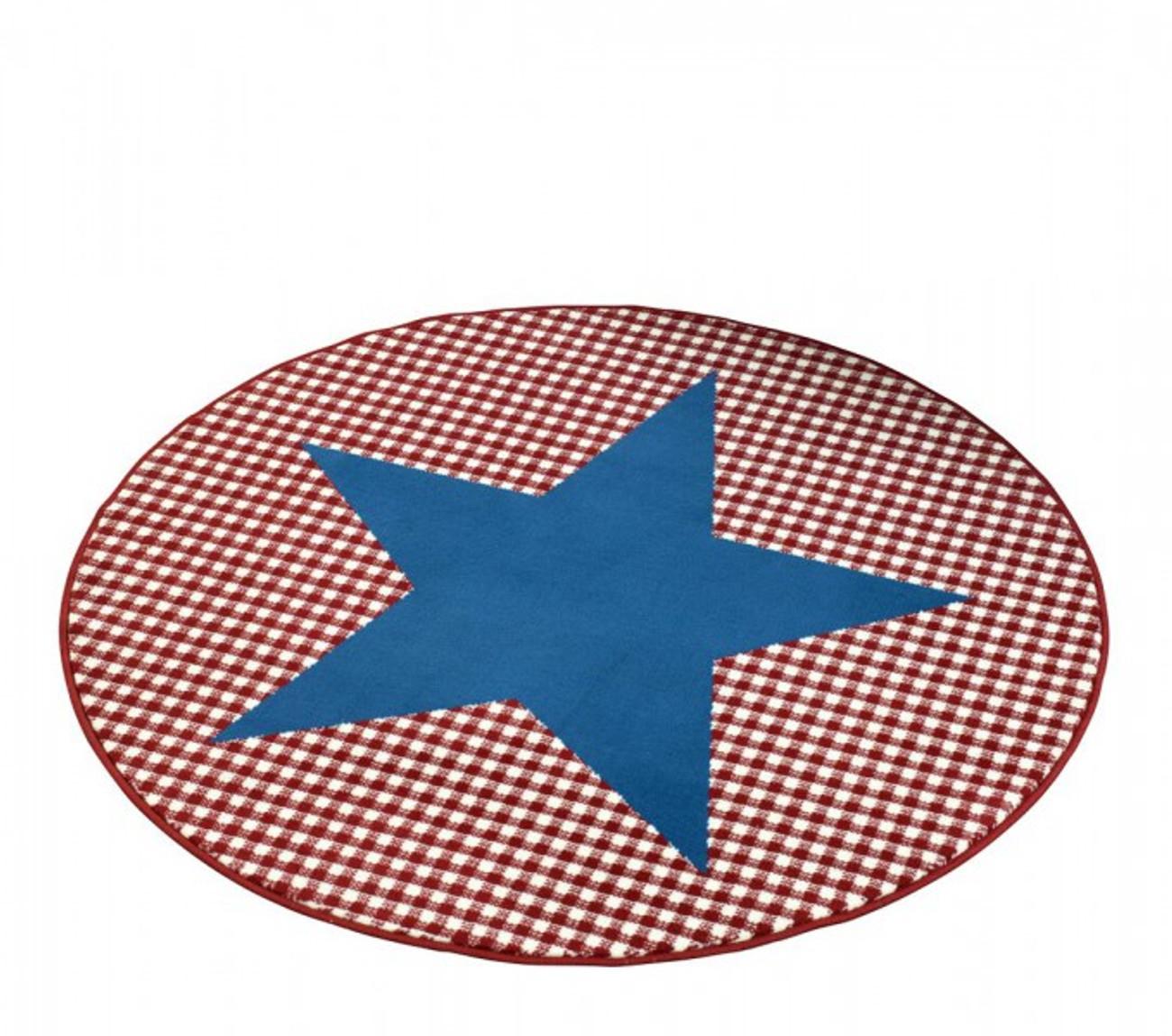 Teppich design rund  Design Velours Teppich Stern Karo rund Blau rot 140 cm | 102320 ...