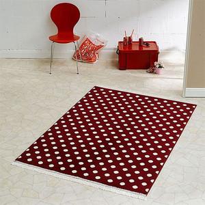Design Velours Teppich Polka Dot mit Fransen 140x200 cm Rot Creme | 102353