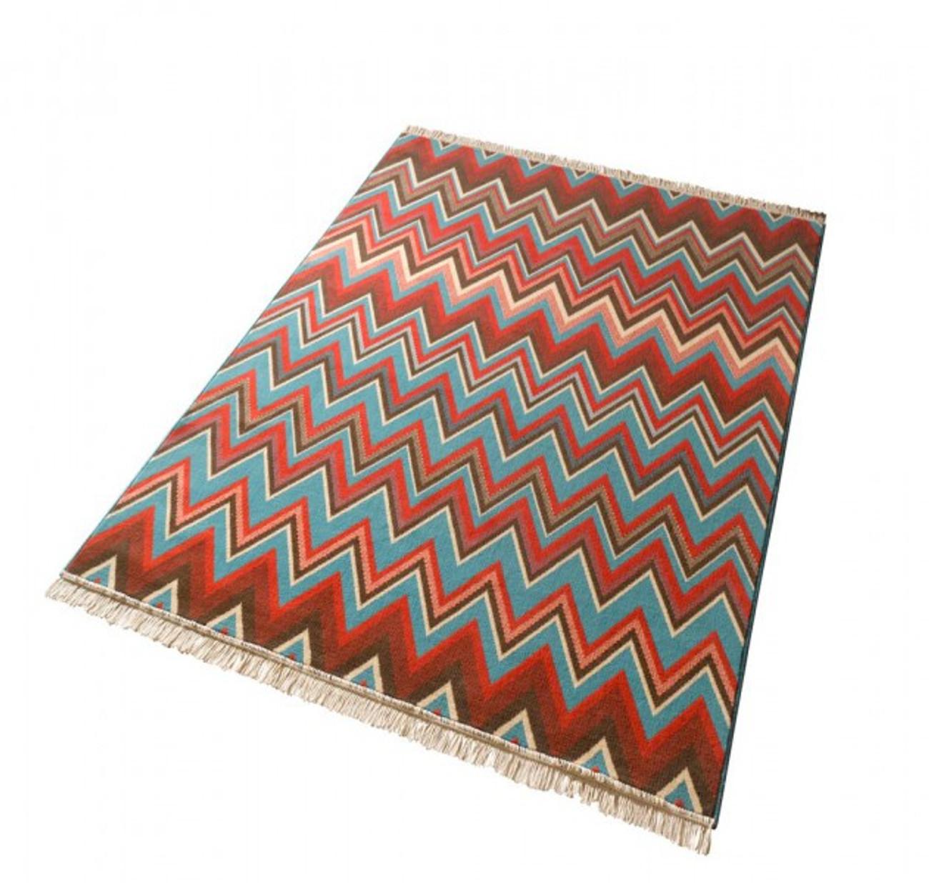 design velours teppich streak mit fransen blau rot braun. Black Bedroom Furniture Sets. Home Design Ideas
