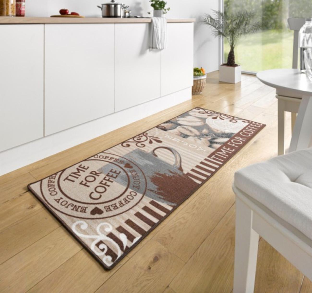 Design Velours Küchenläufer Time For Coffee Braun 67X180 Cm