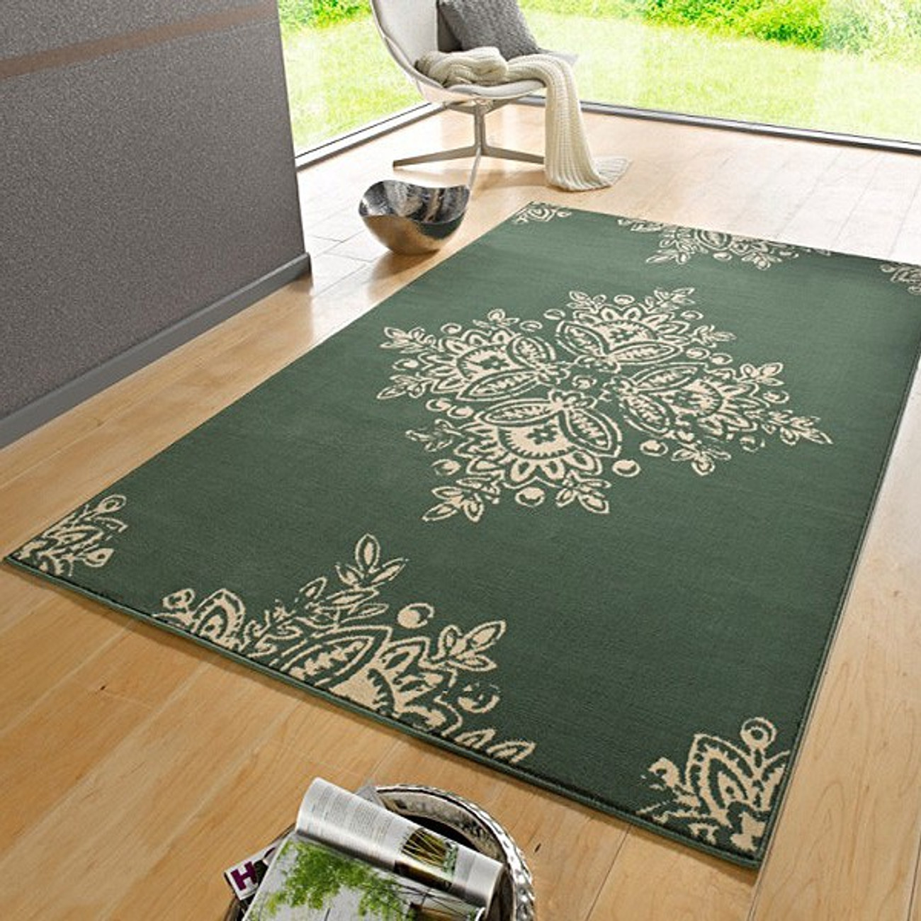 Teppich grün  Designer Velours Teppich Blossom Grün Creme   102427 Teppiche ...