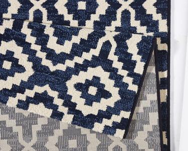 Design Teppich Skandi Dunkelblau Creme | 102436 – Bild 3