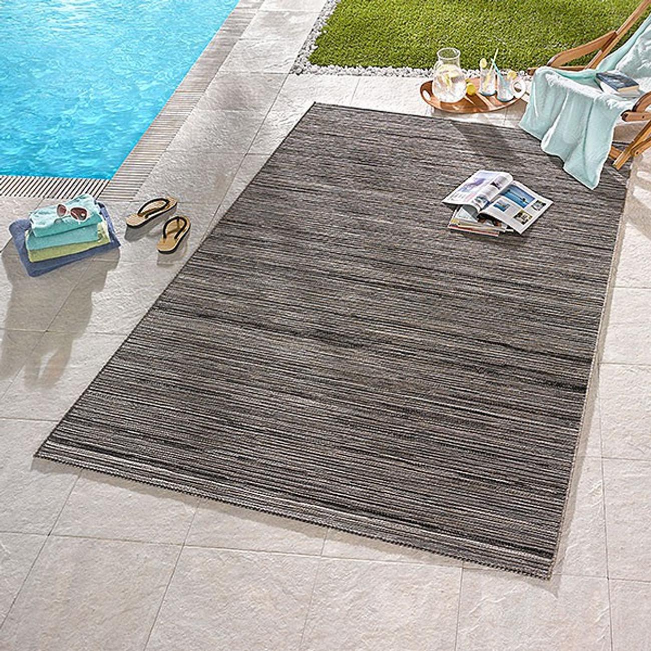 in outdoor flachgewebe teppich lotus grau melliert ebay. Black Bedroom Furniture Sets. Home Design Ideas