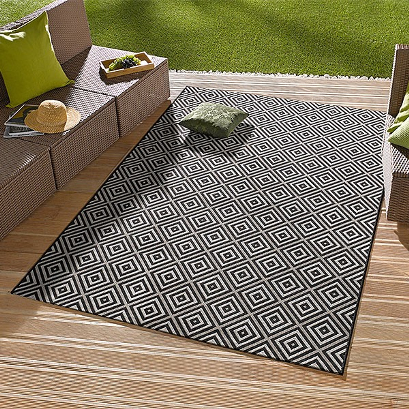 Teppich Outdoor in outdoorteppich karo schwarz 102470 teppiche outdoor teppiche