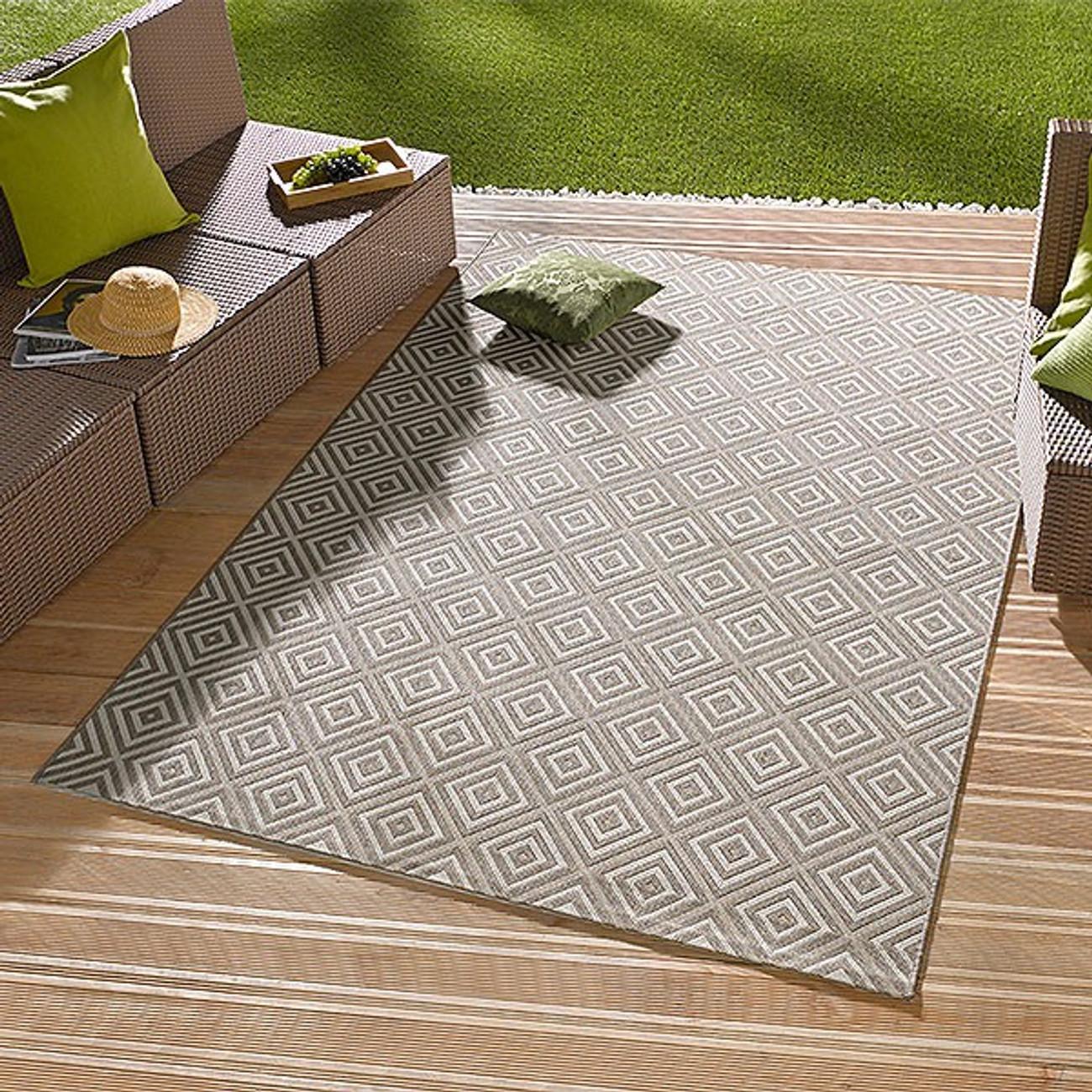 in outdoorteppich karo grau 102471. Black Bedroom Furniture Sets. Home Design Ideas