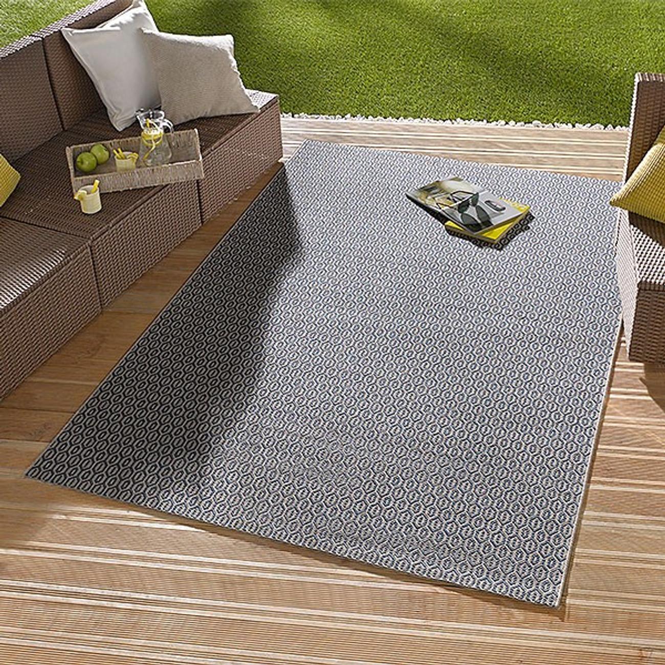 in outdoor flachgewebe teppich coin blau ebay. Black Bedroom Furniture Sets. Home Design Ideas