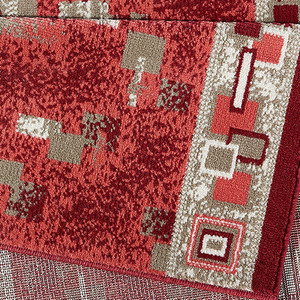Designer Velours Läufer Cube Rot  – Bild 2