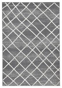Designer Velours Teppich Rhombe Grau Creme