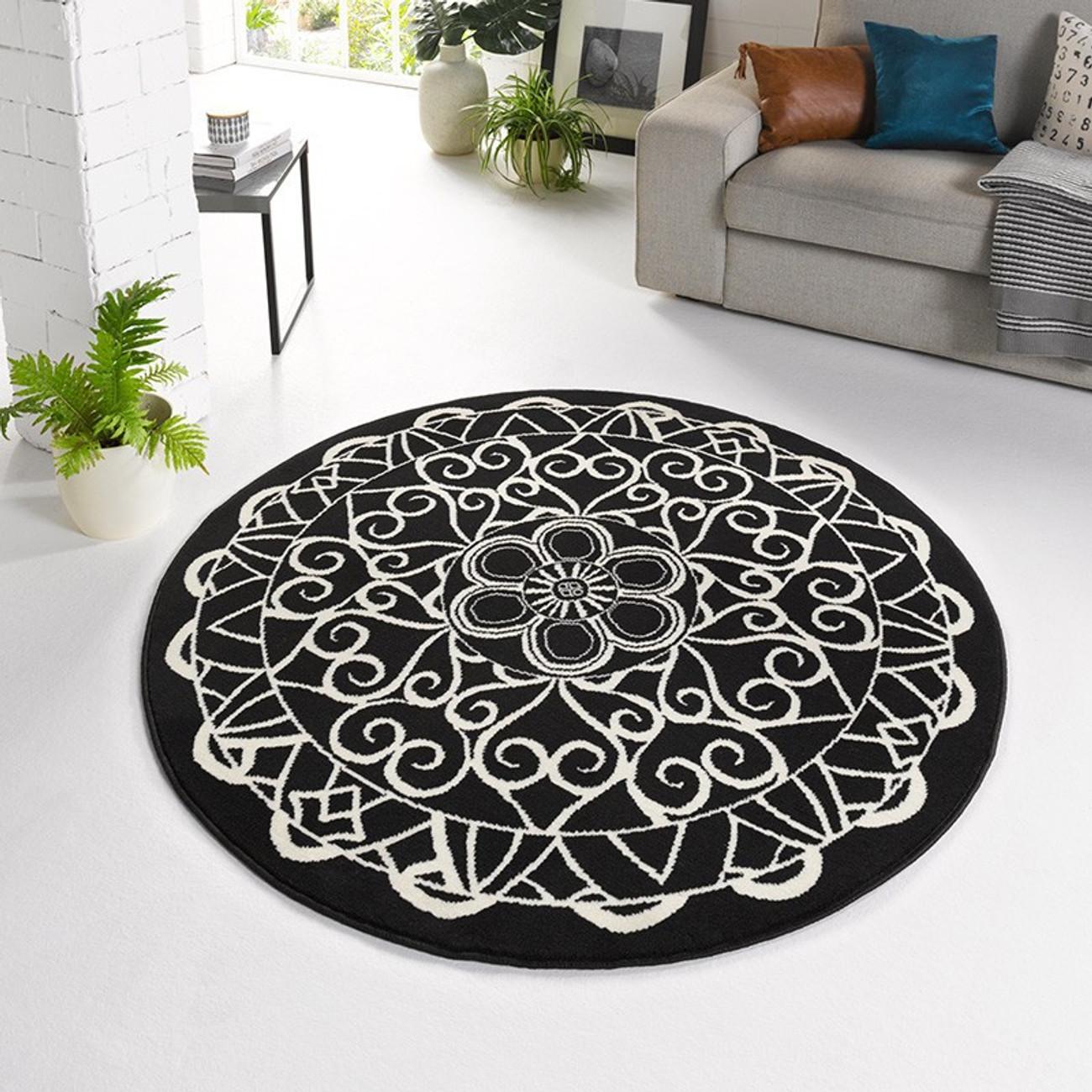 Teppich design rund  Designer Velours Teppich Mandala Schwarz Rund 140 cm Teppiche ...