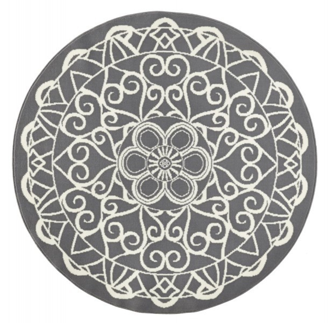 Teppich design rund  Designer Velours Teppich Mandala Grau Rund 140 cm Teppiche Design ...