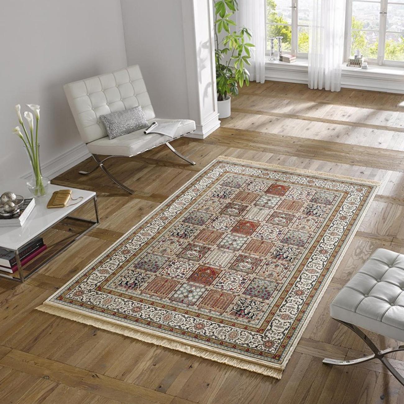 design teppich viskose mit fransen precious creme rot. Black Bedroom Furniture Sets. Home Design Ideas