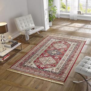 Design Teppich Viskose mit Fransen Cult Rot – Bild 1