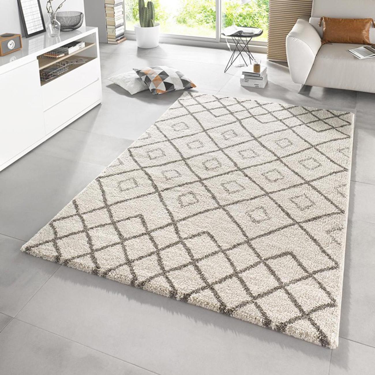 Design Hochflor Teppich Maison Creme Taupe | beganta.de - Onlineshop ...