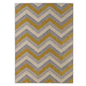 Design Velours Teppich Chevron Gold Grau Creme – Bild 2