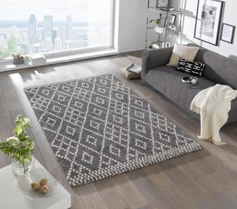 Design Velours Teppich Hochflor Chess Grau Creme