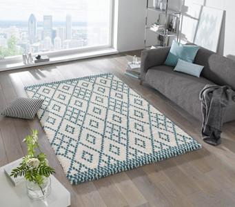 Design Velours Teppich Hochflor Chess Creme Blau