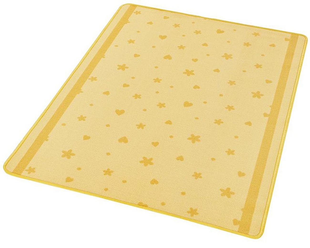Design Kinderteppich Sterne Und Herzen Gelb Orange 100x140 Cm