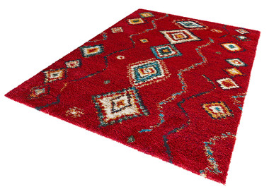 Design Teppich Hochflor Langflor Geometric rot – Bild 2